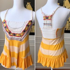 Free People Peplum Tank Boho Stripe Crochet Small